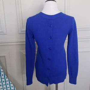Cobalt sweater with back detail